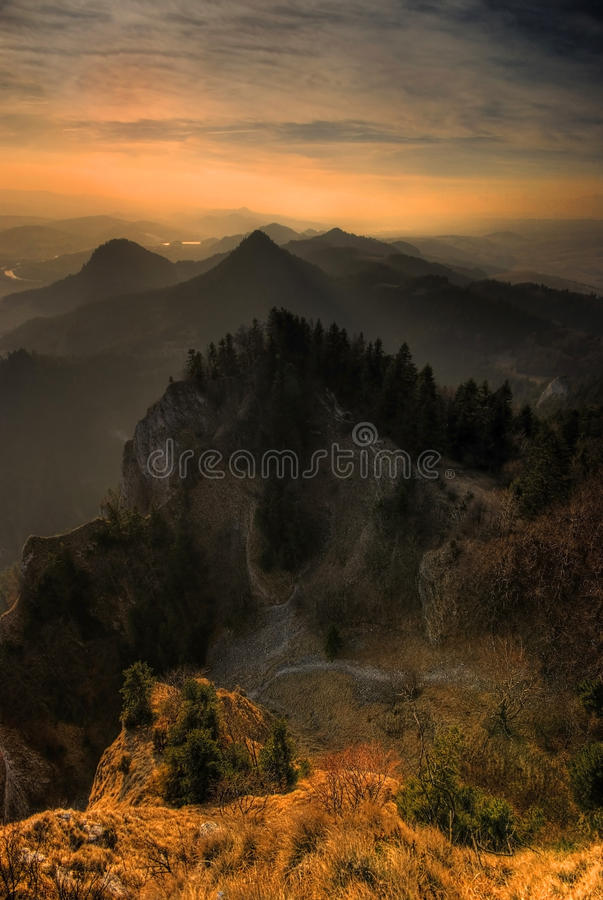 The Pieniny Mountains. Peaks of the Pieniny Mountains at sunset stock photos