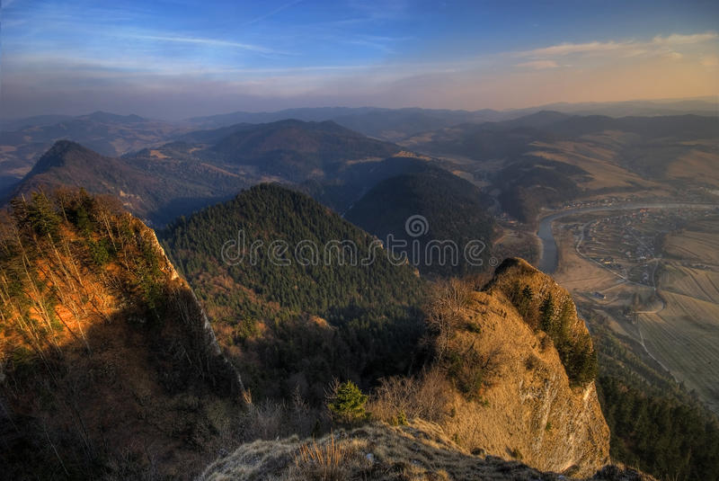 The Pieniny Mountains. Peaks of the Pieniny Mountains at sunset royalty free stock photography