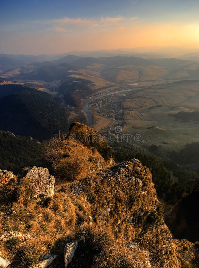 The Pieniny Mountains. Peaks of the Pieniny Mountains at sunset stock image