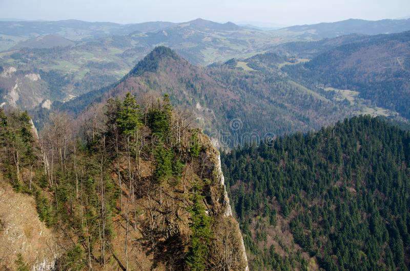 Pieniny Mountains, the view from Three Crowns Mt. Trzy Korony English: Three Crowns, Slovak: Tri koruny is the summit of the Three Crowns Massif, an independent royalty free stock photos