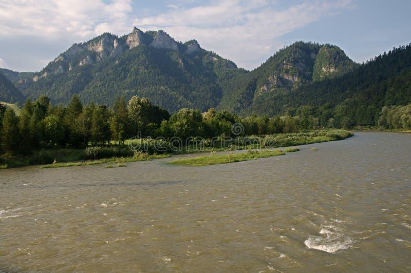 Pieniny, Slovakia. River Dunajec and Three Crown in National Park Pieniny, northern Slovakia, Europe royalty free stock photos