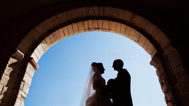 In pieno dello sposo alla moda di amore con la sposa bionda di lusso sul backg immagini stock