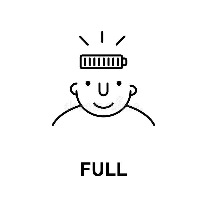 in pieno sull'icona di mente Elemento dell'icona di mente umana per i apps mobili di web e di concetto La linea sottile in pieno  illustrazione vettoriale