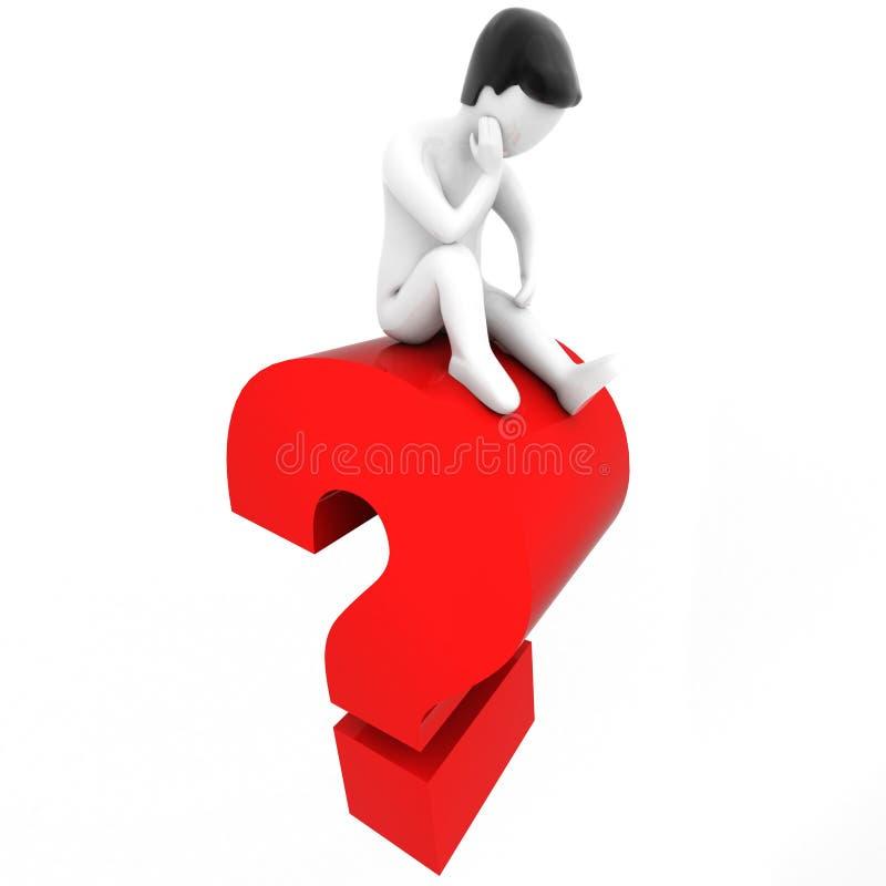 PIENSE - 3D humano y un signo de interrogación stock de ilustración