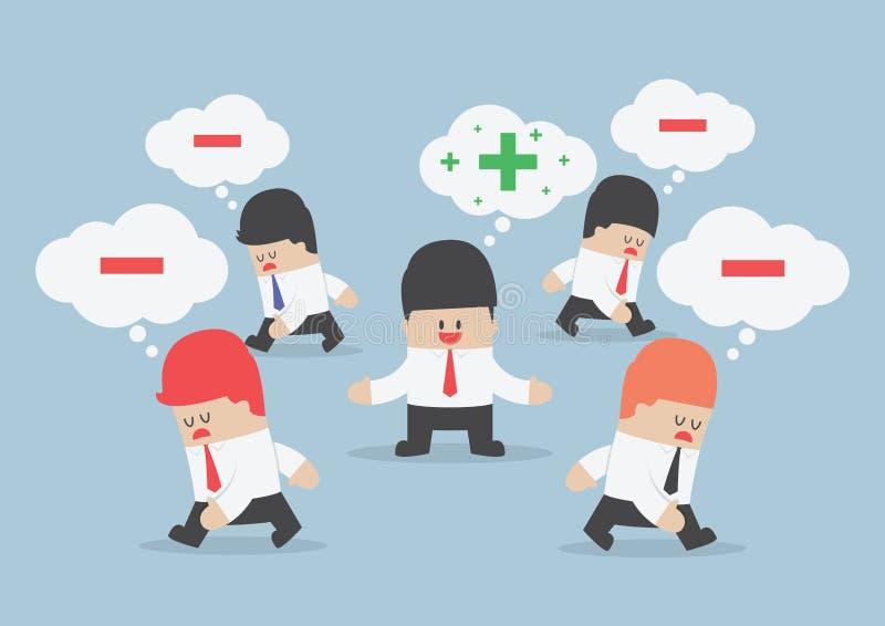 Piense al hombre de negocios positivo rodeado por el peopl de pensamiento negativo stock de ilustración