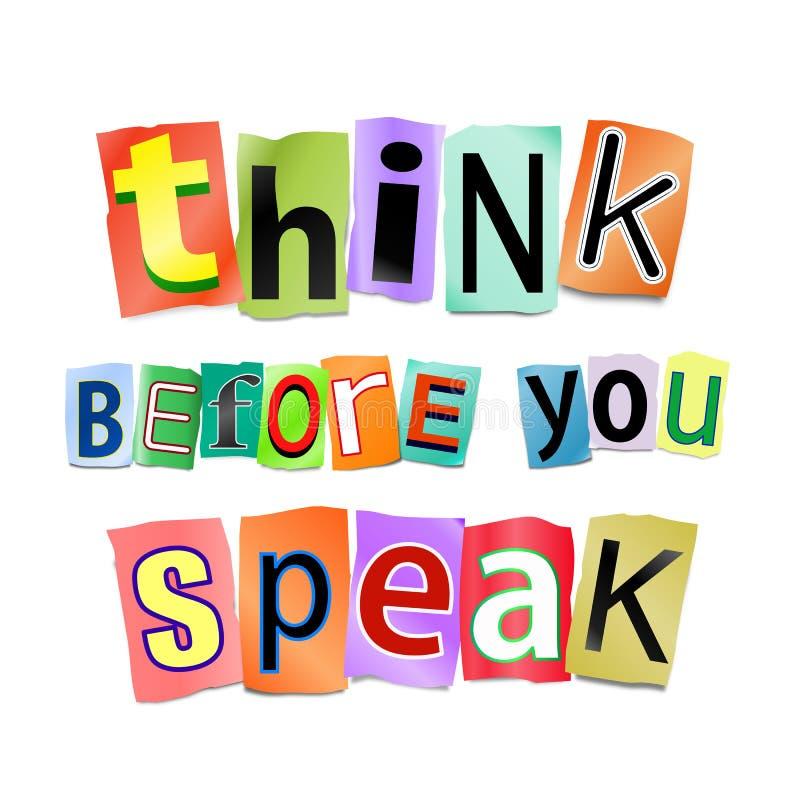 Piense antes de que usted hable. stock de ilustración