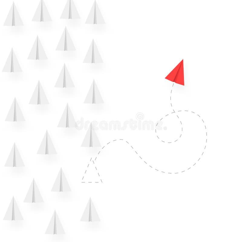 Piense diverso ejemplo del concepto del negocio Manera diferente cambiante de la dirección y del movimiento del aeroplano rojo Ve ilustración del vector
