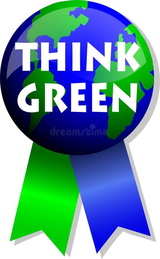 Piense el botón/EPS de la tierra verde ilustración del vector