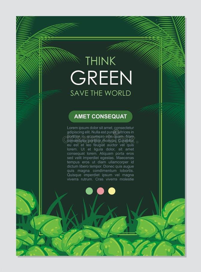 Piense el capítulo y la frontera verdes Va el concepto verde de las hojas ilustración del vector