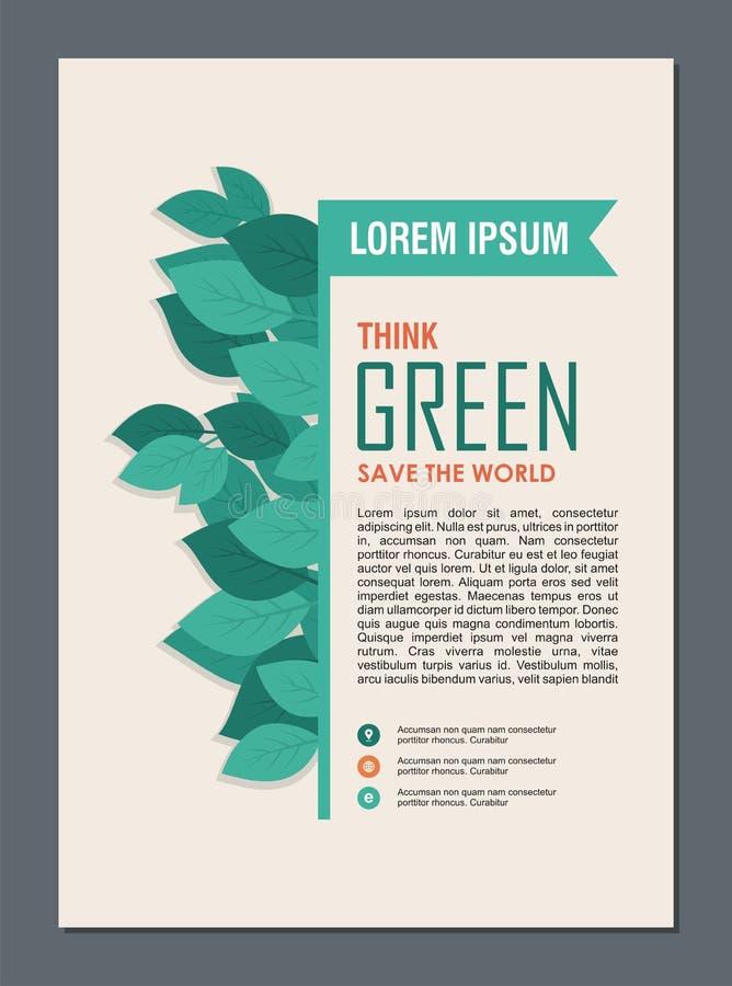 Piense el capítulo y la frontera verdes Va el concepto verde de las hojas libre illustration