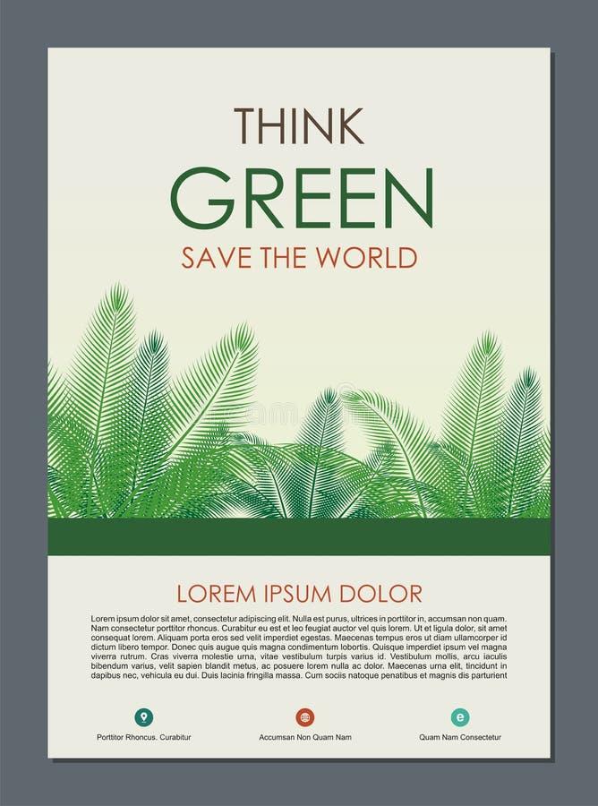 Piense el capítulo y la frontera verdes Va el concepto verde de las hojas stock de ilustración