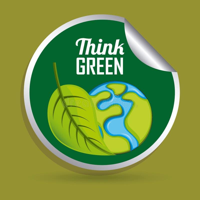 Piense el diseño verde ilustración del vector