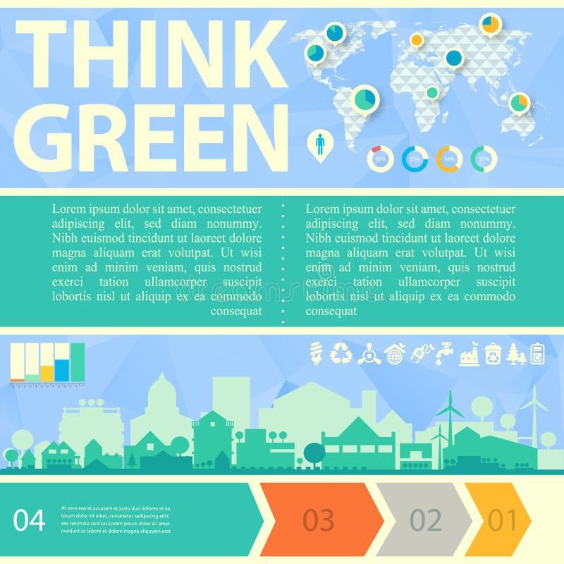 Piense el ejemplo verde del vector con la pequeña ciudad libre illustration