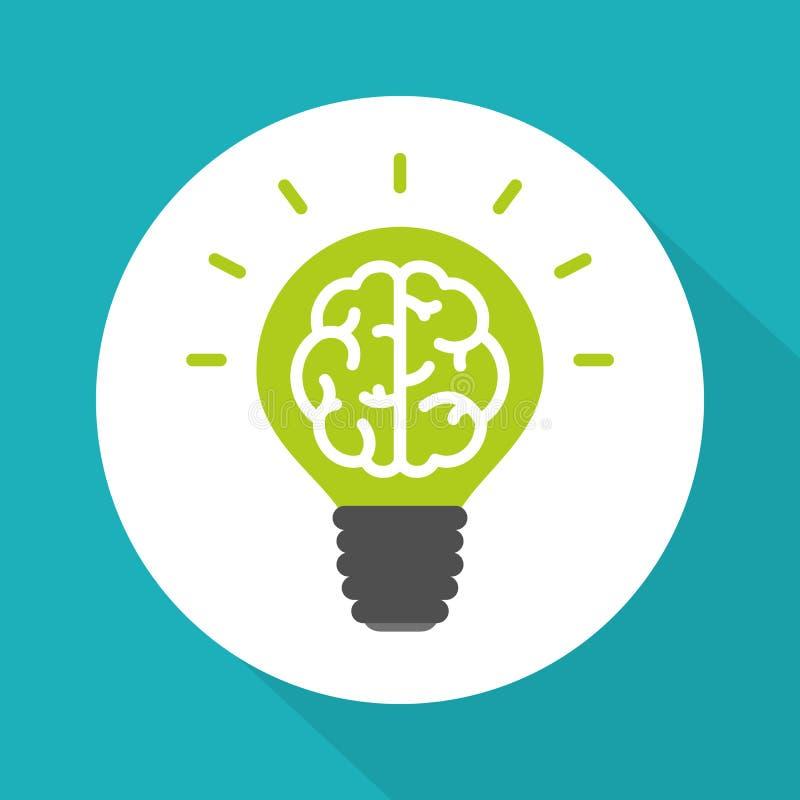 Piense el símbolo verde, cerebro en estilo plano simple del vector de la bombilla verde libre illustration