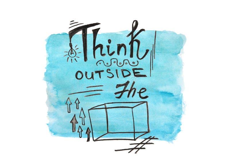 Piense fuera de la caja - cita del negocio de la pintura de la acuarela en el fondo azul, texto de la caligrafía libre illustration