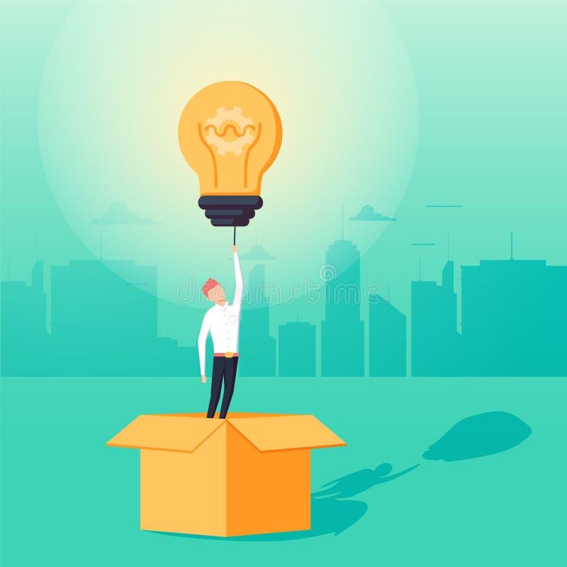 Piense fuera del concepto del negocio de la caja con el hombre de negocios que tiene idea creativa del unieque para la solución ilustración del vector
