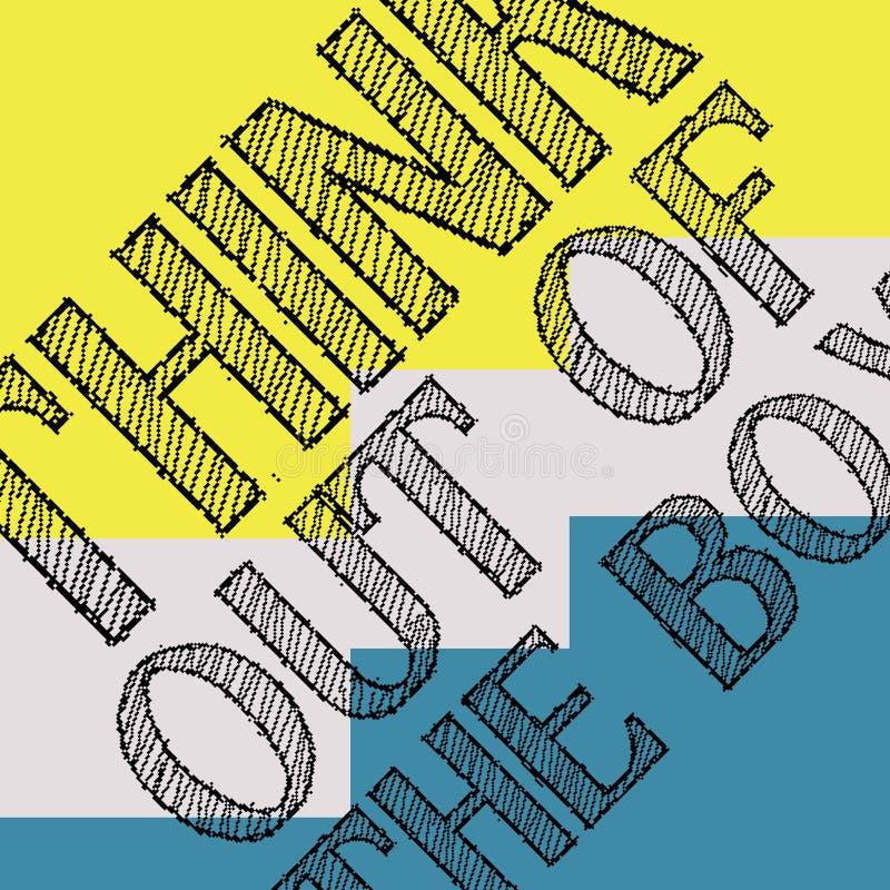 Piense fuera del rectángulo Cartel de motivación de las citas Diseño creativo de la tipografía ilustración del vector