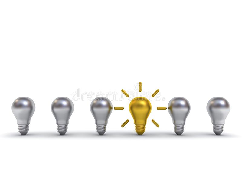 Piense la bombilla de diversa del concepto uno idea del oro que se coloca hacia fuera de los bulbos del metal plateado con reflex stock de ilustración