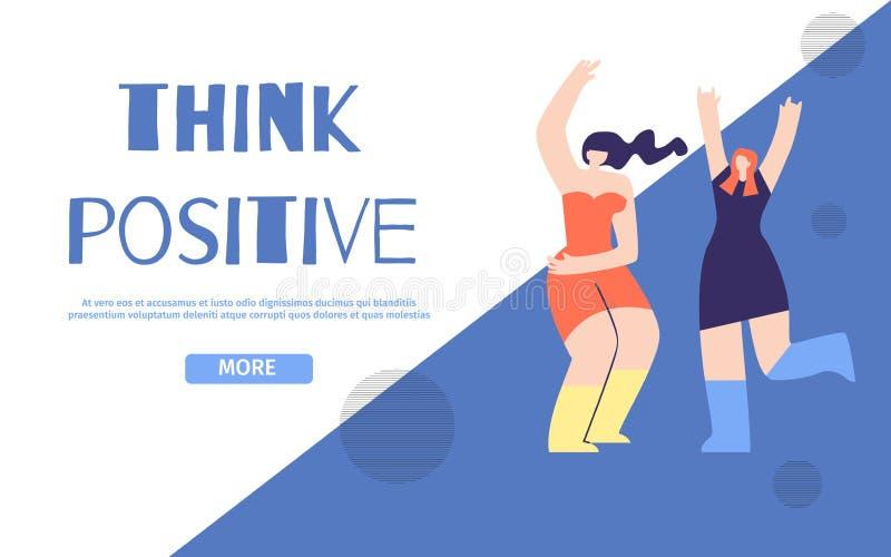 Piense la página de aterrizaje positiva en diseño geométrico libre illustration