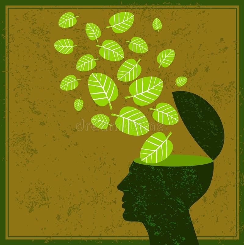 Piense las hojas de la tierra de la reserva del verde y el cerebro humano stock de ilustración