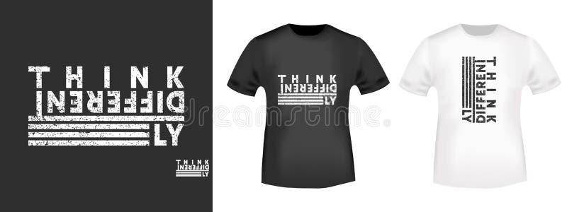 Piense que la impresión de la camiseta para las camisetas applique diferentemente, lema de la moda, insignia, ropa de la etiqueta ilustración del vector