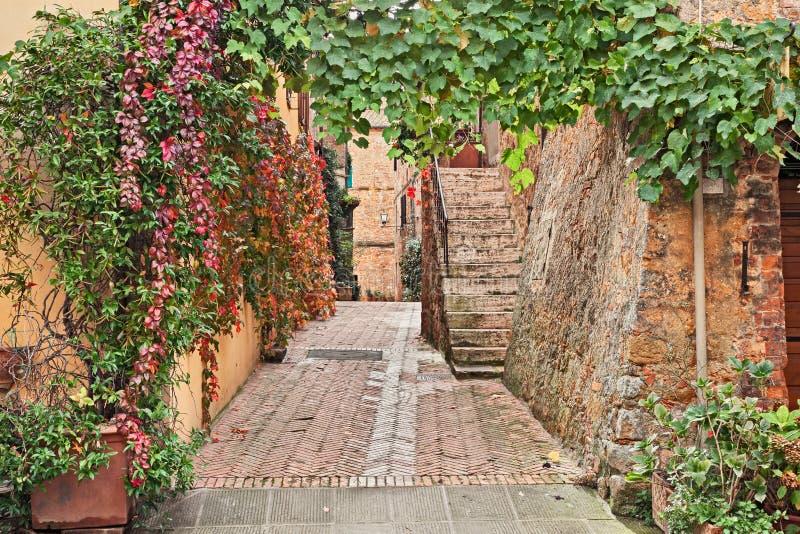 Pienza, Σιένα, Τοσκάνη, Ιταλία: γραφική αλέα στην παλαιά πόλη στοκ εικόνες