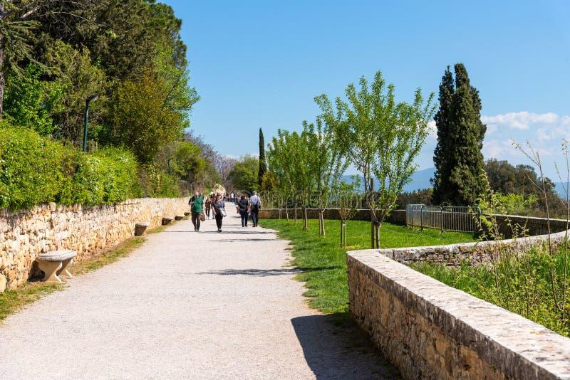 """Pienza, Italie - 22 avril 2018 : Ville italienne de Pienza, célèbre et de touristes, située dans le Val d """"Orcia dans la province image libre de droits"""