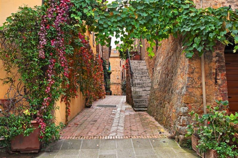 Pienza, Sienne, Toscane, Italie : allée pittoresque dans la vieille ville images stock