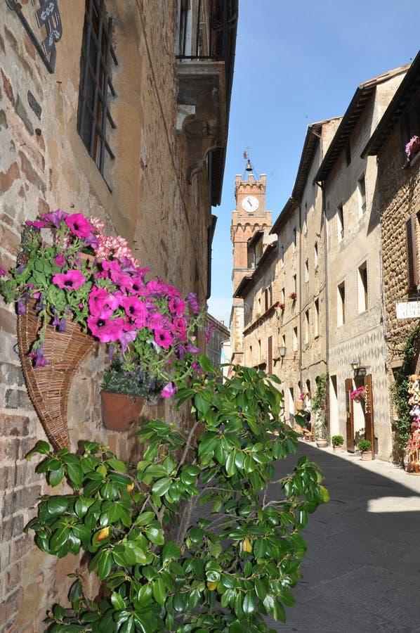 Pienza in Toscanië stock afbeeldingen
