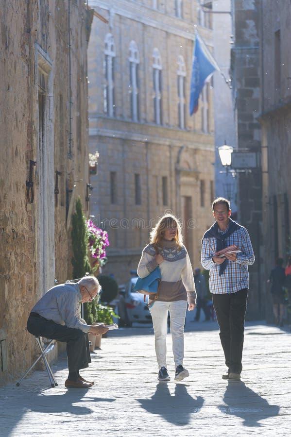 Pienza, Toskana, Italien stockbilder