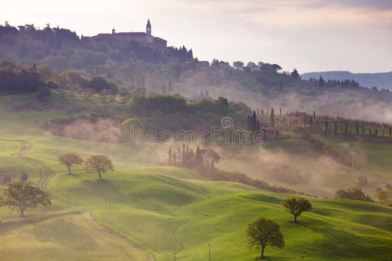 Pienza - Tuscany - Italy. The is one of my favorite summer places in Europe. Beautiful hilltowns, surrounded by cypresses and vinyards royalty free stock photos