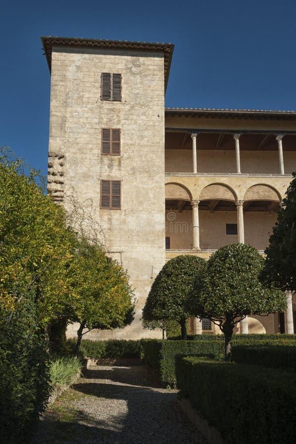 PIENZA - TUSCANY/ITALY, IL 30 OTTOBRE 2016: Palazzo Piccolomini, uno dei primi esempi di architettura di rinascita in Pienza, Va fotografia stock libera da diritti