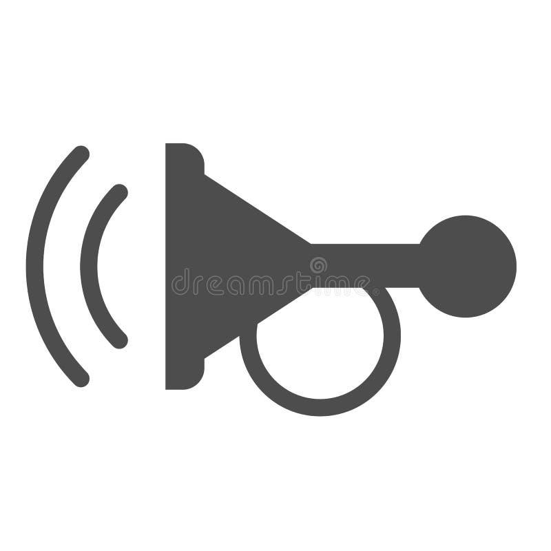 Pieper stevig pictogram Hoorn vectordieillustratie op wit wordt ge?soleerd De stijlontwerp van het autosignaal glyph, dat voor We stock illustratie