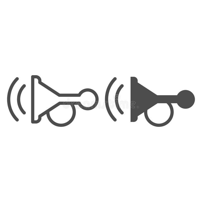 Pieperlijn en glyph pictogram Hoorn vectordieillustratie op wit wordt ge?soleerd Het ontwerp van de het overzichtsstijl van het a stock illustratie