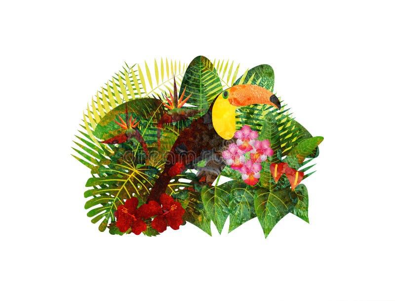 Pieprzojad w Tropikalnym Lasowym ulistnieniu Kwitnie Grunge ilustrację ilustracja wektor