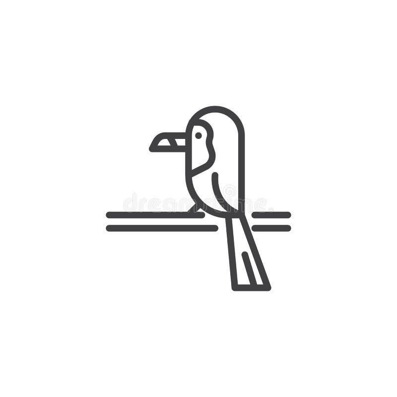 Pieprzojada ptak na gałęziastej kontur ikonie ilustracji