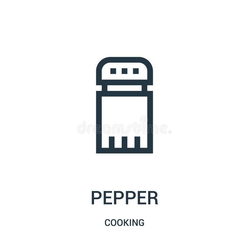 pieprzowy ikona wektor od kulinarnej kolekcji Cienka linia pieprzu konturu ikony wektoru ilustracja Liniowy symbol ilustracji