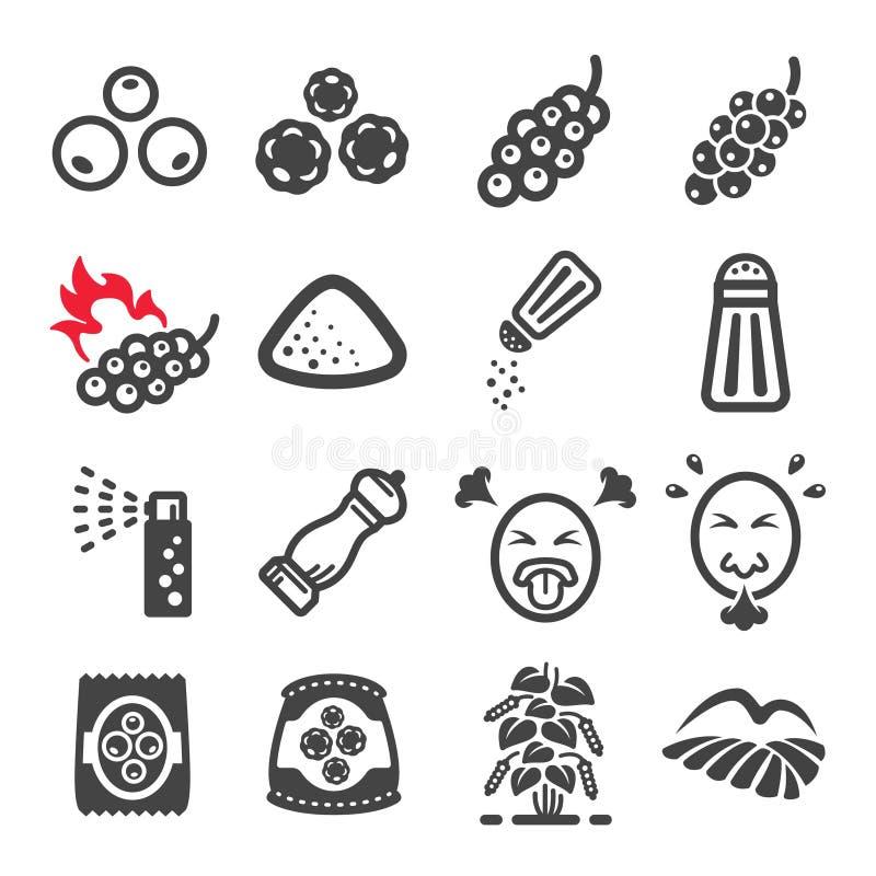 Pieprzu i produktu ikony set ilustracja wektor