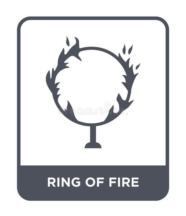 pierścionek ogień ikona w modnym projekta stylu pierścionek odizolowywający na białym tle ogień ikona pierścionek ogień wektorowa ilustracja wektor