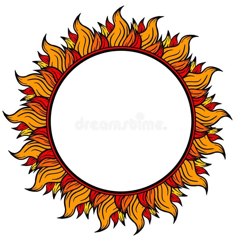 Pierścionek ogień kurendy rama odizolowywająca na białym tle, wektorowa ilustracja ilustracji