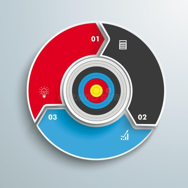Pierścionek Z celu 3 opcj cyklem ilustracja wektor