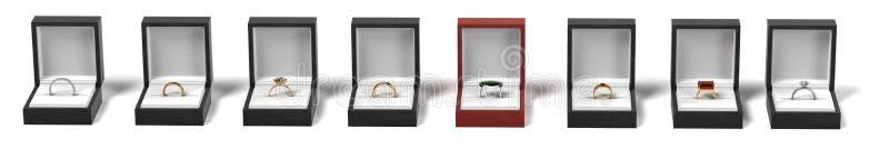 Pierścionki w pudełkach royalty ilustracja