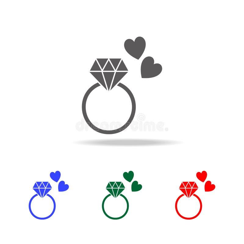pierścionku zaręczynowego i serc ikona Elementy walentynka, s dzień w wielo- barwionych ikonach ' Premii ilości graficznego proje ilustracji