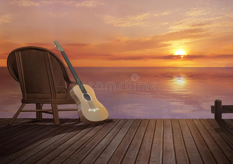 On the pier. Sunset on the pier with guitar