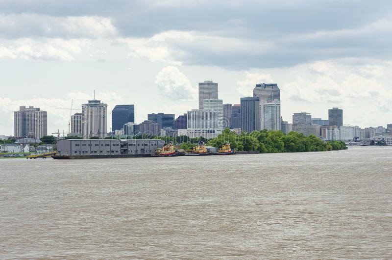 Pier at Algiers Point and Skyline of New Orleans royalty free stock images