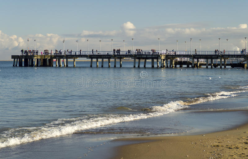 Pier on Baltic Sea, Gdask, Poland. Pier on the morning light, Gdansk, Poland stock images