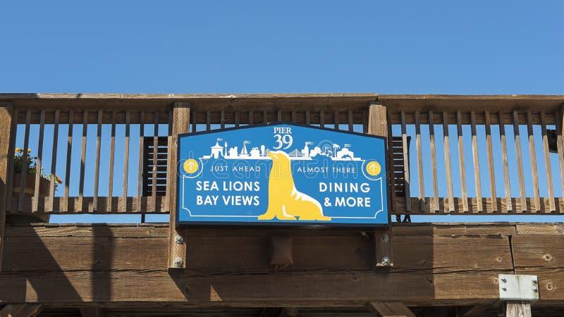 Pier 39 banner, Fisherman`s Wharf, San Francisco, California royalty free stock images