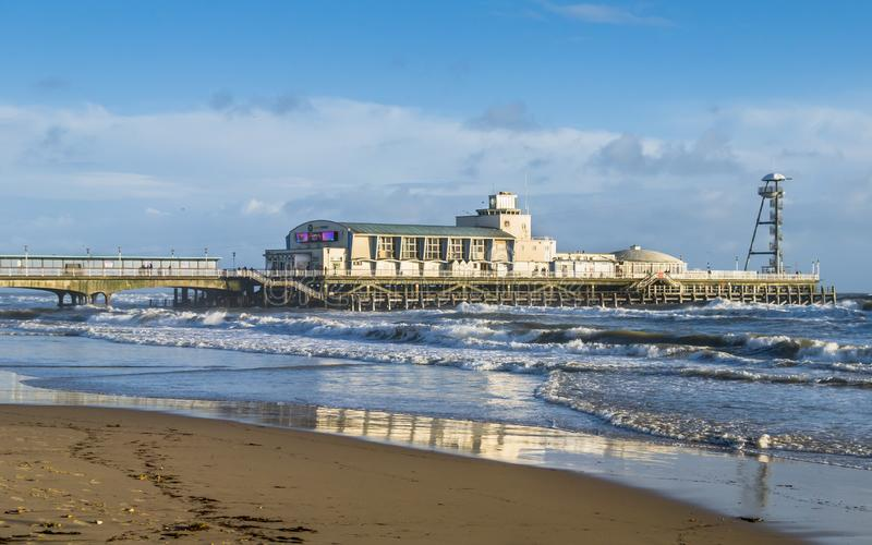 The pier and beach at Bournemouth in winter sun stock photo