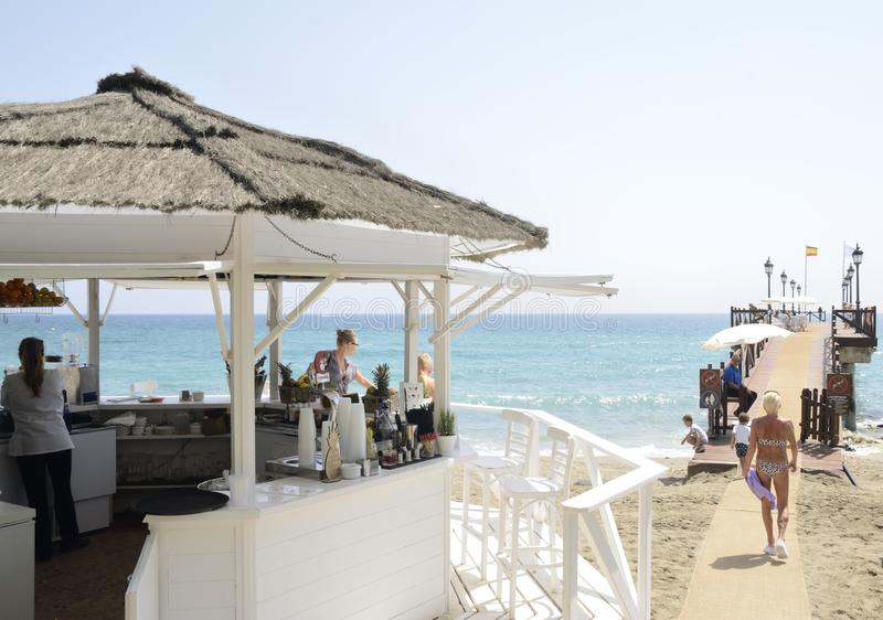 Pier at the beach in Marbella stock image