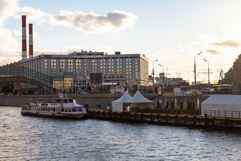 Pier on Berezhkovskaya Embankment in Moscow stock image